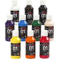 A-Color Acrylfarbe , Glänzend, Sortierte Farben, 10x100 ml/ 1 Pck
