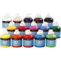 A-Color Acrylfarbe, Matt, Sortierte Farben, 15x500 ml/ 1 Box
