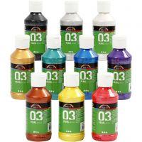 A-Color Acrylfarbe, Metallic, Sortierte Farben, 10x120 ml/ 1 Pck