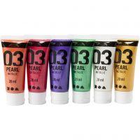 A-Color Acrylfarbe, Metallic, Zusätzliche Farben, 6x20 ml/ 1 Pck