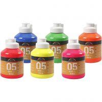 A-Color Acrylfarbe, Neonfarben, 6x500 ml/ 1 Box