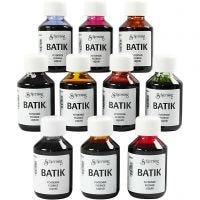 Batikfarbe, Sortierte Farben, 10x100 ml/ 1 Pck