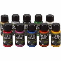 Textilfarbe, Perlmutt, Sortierte Farben, 10x50 ml/ 1 Pck