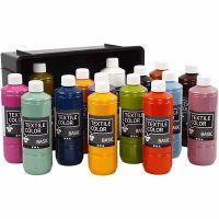 Textilfarbe, Sortierte Farben, 15x500 ml/ 1 Pck