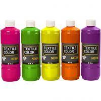 Textilfarbe, Sortierte Farben, 5x500 ml/ 1 Pck