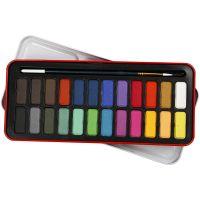 Aquarell-Farbset, Größe 12x30 mm, Sortierte Farben, 24 Farbe/ 1 Pck