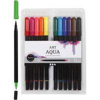 Aquarell-Marker, Strichstärke 2+4-8 mm, Standard-Farben, 12 Stk/ 1 Pck