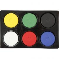 Wasserfarben, H: 16 mm, D: 44 mm, Primärfarben, 1 Set