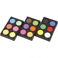 Wasserfarben, H: 16 mm, D: 44 mm, Neonfarben, Zusätzliche Farben, 1 Set