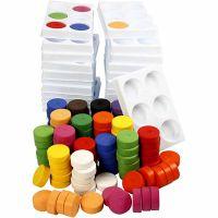 Wasserfarben, H: 16 mm, D: 44 mm, Sortierte Farben, 1 Set