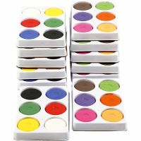 Wasserfarben, H: 19 mm, D: 57 mm, Primärrot, Zusätzliche Farben, 12 Schale/ 1 Pck