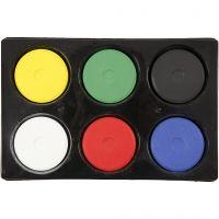 Wasserfarben, H: 19 mm, D: 57 mm, Primärfarben, 1 Set