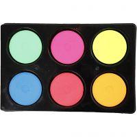 Wasserfarben, H: 16 mm, D: 44 mm, Neonfarben, 1 Set