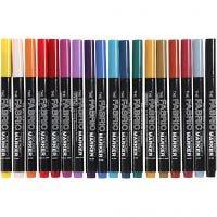Stoffmalstifte, Strichstärke 2-3 mm, Sortierte Farben, 18 Stk/ 1 Pck