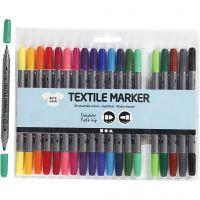 Stoffmalstifte, Strichstärke 2,3+3,6 mm, Standard-Farben, 20 Stk/ 1 Pck