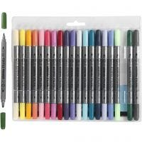 Stoffmalstifte, Strichstärke 2,3+3,6 mm, Zusätzliche Farben, 20 Stk/ 1 Pck
