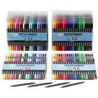 Stoffmalstifte, Strichstärke 2,3+3,6 mm, Standard-Farben, Zusätzliche Farben, 24x20 Stk/ 1 Pck