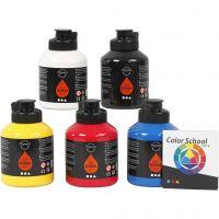Pigment Art School-Farbe, Primärfarben, 5x500 ml/ 1 Pck