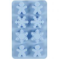 Silikonform, Eiskristalle und Lebkuchenmann, H: 2,5 cm, L: 24 cm, B: 14 cm, Lochgröße 30x45 mm, 12,5 ml, 1 Stk/ 1 Pck