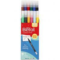 Berol Colourfine, D: 10 mm, Strichstärke 0,3-0,7 mm, Sortierte Farben, 12 Stk/ 1 Pck