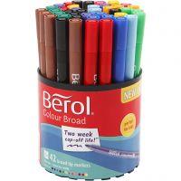 Berol Colourfine, D: 10 mm, Strichstärke 0,3-0,7 mm, Sortierte Farben, 42 Stk/ 1 Dose