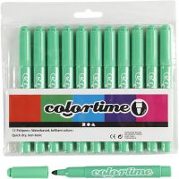 Colortime Filzstifte, Strichstärke 5 mm, Hellgrün, 12 Stk/ 1 Pck