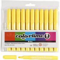 Colortime Filzstifte, Strichstärke 5 mm, Zitronengelb, 12 Stk/ 1 Pck