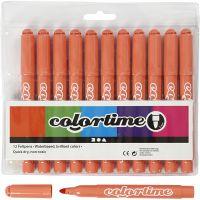 Colortime Filzstifte, Strichstärke 5 mm, Mandarin, 12 Stk/ 1 Pck