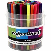 Colortime Filzstifte, Strichstärke 2 mm, Sortierte Farben, 100 Stk/ 1 Eimer