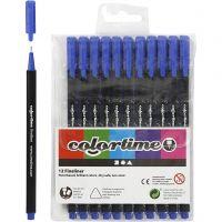 Colortime Fineliner, Strichstärke 0,6-0,7 mm, Dunkelblau, 12 Stk/ 1 Pck