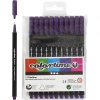 Colortime Fineliner, Strichstärke 0,6-0,7 mm, Flieder, 12 Stk/ 1 Pck