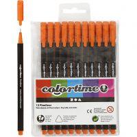 Colortime Fineliner, Strichstärke 0,6-0,7 mm, Orange, 12 Stk/ 1 Pck