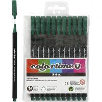 Colortime Fineliner, Strichstärke 0,6-0,7 mm, Dunkelgrün, 12 Stk/ 1 Pck