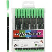 Colortime Fineliner, Strichstärke 0,6-0,7 mm, Hellgrün, 12 Stk/ 1 Pck