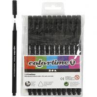 Colortime Fineliner, Strichstärke 0,6-0,7 mm, Schwarz, 12 Stk/ 1 Pck