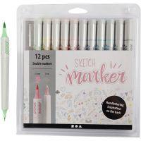 Sketch Marker, Strichstärke 1+2-5 mm, Pastellfarben, 12 Stk/ 1 Pck
