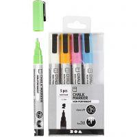 Kreide-Marker, Strichstärke 1,2-3 mm, Kräftige Farben, 5 Stk/ 1 Pck