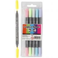 Colortime Dual-Filzstifte, Strichstärke 2,3+3,6 mm, Pastellfarben, 6 Stk/ 1 Pck