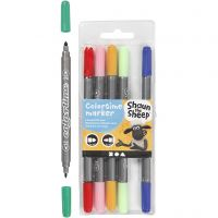 Marker, Strichstärke 2,3+3,6 mm, Sortierte Farben, 6 Stk/ 1 Pck