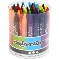 Colortime Farbkreide, L: 10 cm, Dicke 11 mm, Sortierte Farben, 48 Stk/ 1 Pck