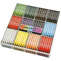 Colortime Farbkreide, L: 10 cm, Dicke 11 mm, Sortierte Farben, 12x24 Stk/ 1 Pck