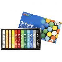 Mungyo Ölpastellfarben, L: 7 cm, Dicke 11 mm, Sortierte Farben, 12 Stk/ 1 Pck