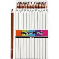 Colortime Buntstifte, L: 17,45 cm, Mine 5 mm, JUMBO, Braun, 12 Stk/ 1 Pck