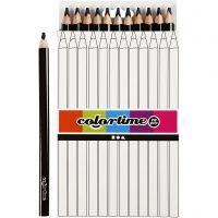 Colortime Buntstifte, L: 17,45 cm, Mine 5 mm, JUMBO, Schwarz, 12 Stk/ 1 Pck