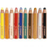 Woody 3-in-1 Buntstifte, L: 11 cm, Dicke 16 mm, Mine 10 mm, Sortierte Farben, 10 Stk/ 1 Pck