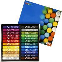 Mungyo Ölpastellfarben, L: 7 cm, Dicke 11 mm, Sortierte Farben, 24 Stk/ 1 Pck