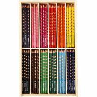 Groove Slim Buntstifte, L: 18 cm, Mine 3,3 mm, Sortierte Farben, 12x12 Stk/ 1 Pck