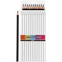 Colortime Buntstifte, L: 17 cm, Mine 3 mm, Schwarz, 12 Stk/ 1 Pck