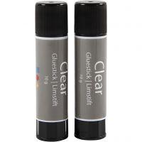 Transparenter Klebestift, Rund, 2 Stk/ 1 Pck, 10 g