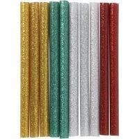 Heißkleber-Sticks, L: 10 cm, Glitter, Gold, Grün, Rot, Silber, 10 Stk/ 1 Pck